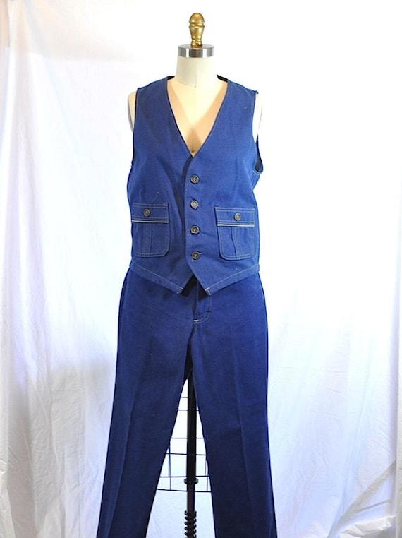 Vintage 1970s Blue Denim Two Pieces Vest and Flar… - image 1