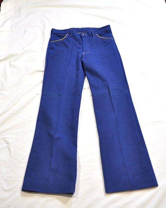Vintage 1970s Blue Denim Two Pieces Vest and Flar… - image 3