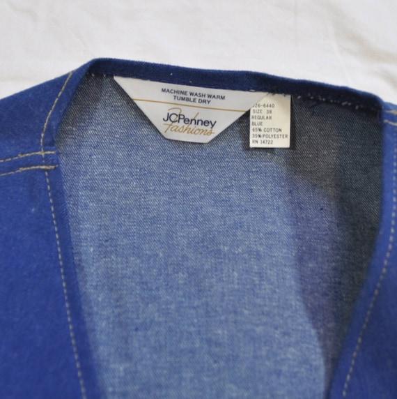 Vintage 1970s Blue Denim Two Pieces Vest and Flar… - image 5