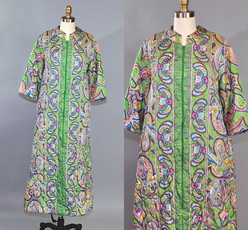 0df5818f4 Vintage Sears 1960's Women's Psychedelic Loungewear Green Blue Paisley  Quilted Maxi Length. Psychedelic Evening Wear Zipped Size M/L