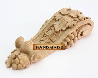 Hand-carved Wood Corbel Bracket Support Oak Quality Carving Grapes