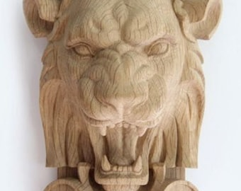 Lion Boniface High Quality Carved Mask Decor Unique Wood Oak Beech Hand-carved Animals