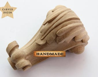 High Quality Hand-carved Furniture Leg with acanthus leaf Carved Decor Wood Oak Beech SET OF FOUR (4)