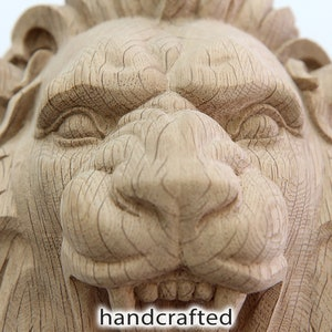 Rosette with Lion Head Wooden carved decor