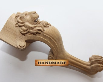 Lion - High Quality Hand-carved Furniture Leg for coffe table Support Carved Decor Wood Oak Beech Cottage Chic style