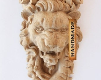 Lion - High Quality Hand-carved Wood Corbel Bracket Support Oak Carved Console Furniture Cottage Chic