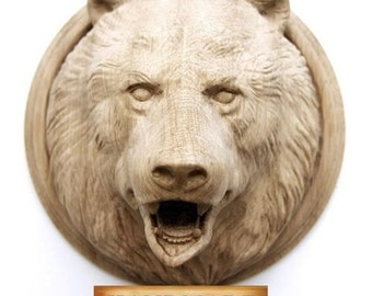 Bear Hand-carved High Quality Mask Reproduction Rage Oak Beech Carving Animals