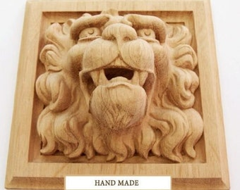 Renaissance Lion High Quality Carved Mask Wood Oak Beech Decor Hand-carved Animals