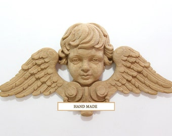 Angel High Quality Carved Mask Decor Mascaron Handcrafted Hand-carved Wood Oak Beech