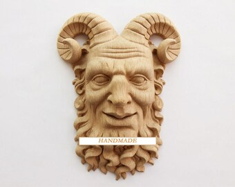 Satyr High Quality Decor Reproduction Carved Mask Greek Unique Wood Oak Beech Hand-carved