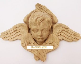 Angel Carved Mask Handcrafted Decor High Quality Hand-carved Mascaron Wood Oak Beech