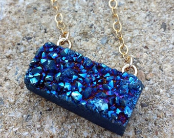 Raw Blue Drusy Gold Necklace