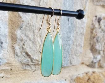 Large Faceted Chalcedony Earrings, Chalcedony Statement Earrings, Pale Light Green Earrings, Large Green Gemstone Earrings, Summer Earrings