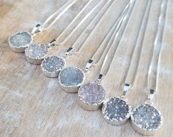 Solid 925 Sterling Silver Grey Rectangle Druzy Pendant Necklace /'