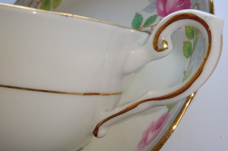 Tuscan Fine Bone China Pink Rose Garland on Grey Cup and Saucer