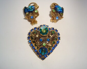 REDUCED  Vintage Rivoli Rhinestone Brooch and Matching Earrings