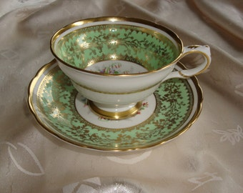 Grosvenor England Floral and Minty Green Cup and Saucer