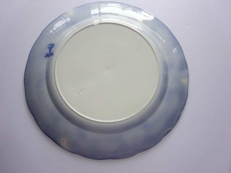 Small Crack Antique Khan Bisto Stonier England Flow Blue Plate 10 12Plaate