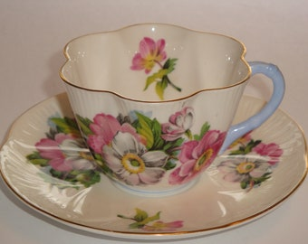 Shelley England MULDER AND ZOON Begonia Tea Cup and Saucer Pattern 2419