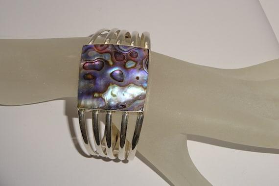 Native Old Pawn Silver Cuff Bracelet w/ Shell