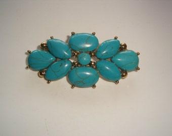 Monet Cyan Blue Flower Brooch