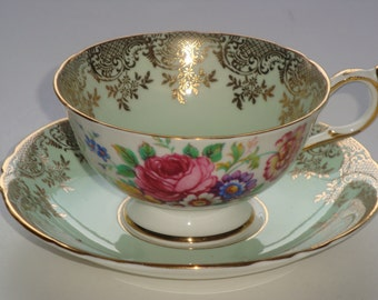 DW Paragon Minty Green and Filigree Tea Cup and Saucer ~ Pattern A2138/8