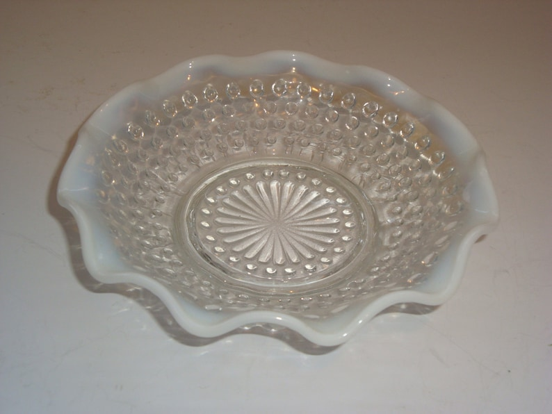 Just Vintage Fenton Moonstone Opalescent Hobnail Glass Bowls Glass North American