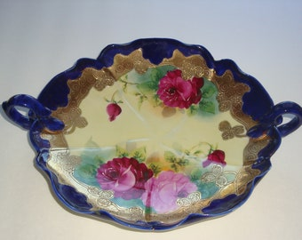 STUNNING Large Nippon Double Handled Cabbage Roses and Cobalt Dish