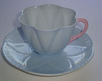 HTF Shelley Dainty Shape Solid Blue w/ Pink Handle Tea Cup and Saucer