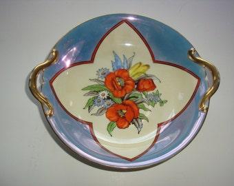 Hand Painted Noritake Morimuras Lustreware Open Handled Bowl