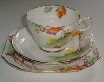 Shelley Cambridge Shape AUTUMN LEAVES Trio ~ Cup, Saucer and Plate