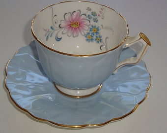 Aynsley England Light Blue with Floral Spray Cup and Saucer