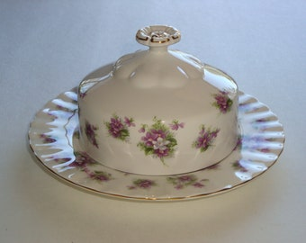 Royal Albert England SWEET VIOLETS Covered Butter Dish