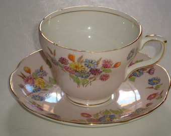 EB Foley Colorful Daises on Pink Cup and Saucer ~ Pattern 2864