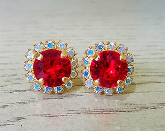 Red Sparkly Earrings, Red Halo Studs, Christmas earrings, Swarovski Crystal, Sparkly studs, nickel free earrings, red Swarovski