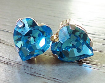 SALE Swarovski Blue Crystal, Blue Heart Stud Earrings, Heart jewelry, Gifts for her, Swarovski Crystal, Blue earrings, Valentines Day