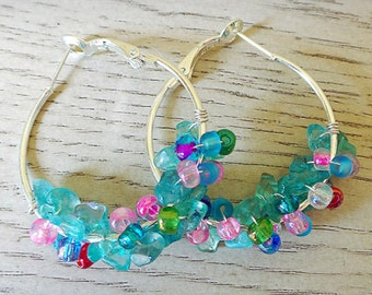 Green Gemstone Beaded Hoop Earrings - Apetite Gemstone Earrings - Silver Cluster Hoop Earrings - Small Silver Hoops - Wrapped Beaded Hoops