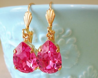 Small Pink Crystal Gold Dangle Earrings - Pink Earrings - Dangle and Drop - Small Earrings - Pear Shaped Earrings - Lightweight