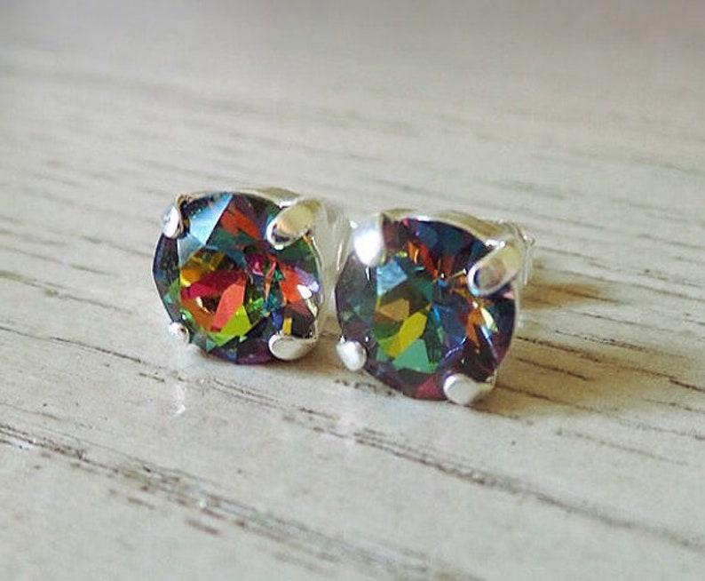 9f269db63 Rainbow stud earrings Vitrail studs Swarovski Crystal | Etsy