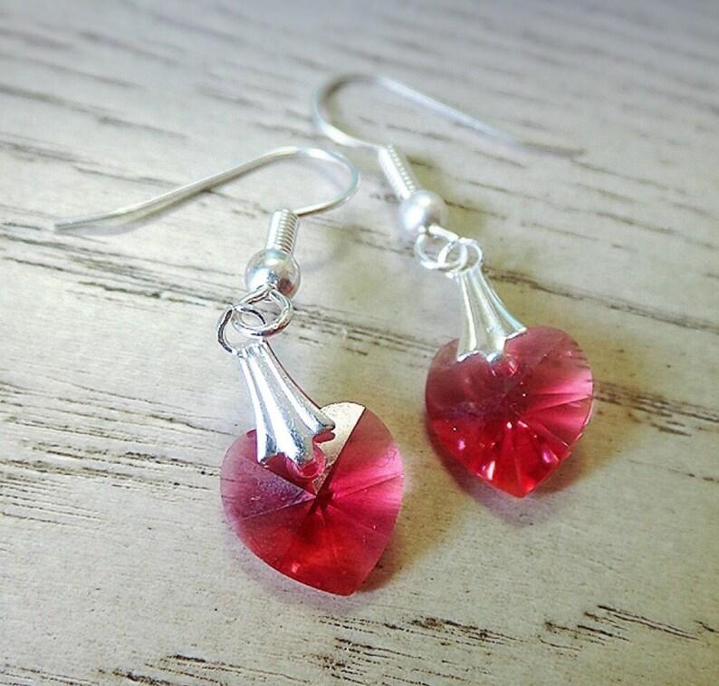 e3f488221 Red Heart earrings Swarovski Crystal Heart Swarovski | Etsy
