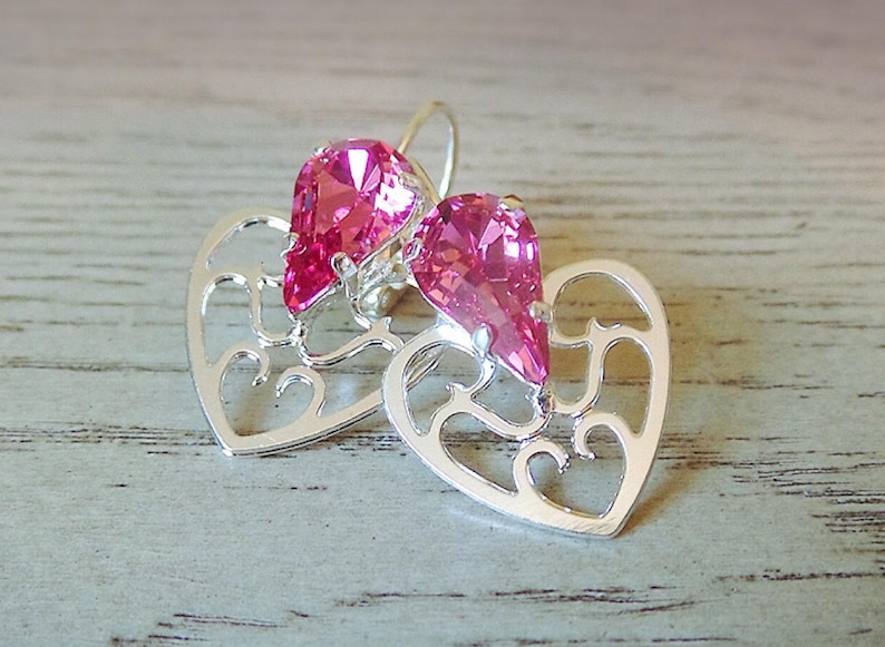 2b5ea16ac SALE Pink Heart Dangle Earrings Swarovski Crystal Valentines | Etsy