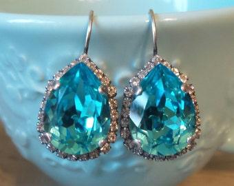 Crystal Blue Earrings, Pear Shaped Earrings, Swarovski Crystal, Dangle Earrings, Bridesmaid Earrings, Something Blue, Antique Silver