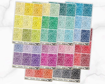 Rainbow Ombre Glitter Blank Header Printable Planner Stickers JPGPNGSilhouette Cut Files