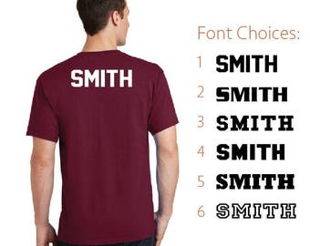 Add ANY name and/or number to the back of an already purchased shirt from us!