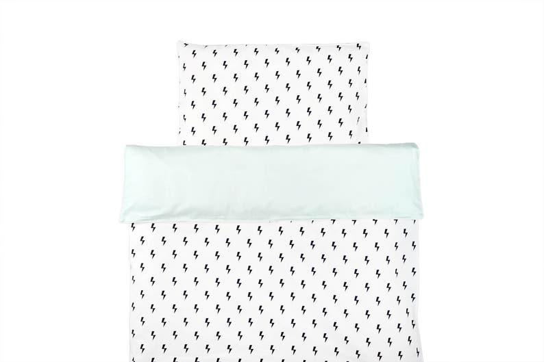 Monochrome Baby Bettwäsche Pastell Mint Bettwäsche Schwarz Und Weiß Kinderbett Bettwäsche Set Beleuchtung Bolzen Bettdecke Monochrome