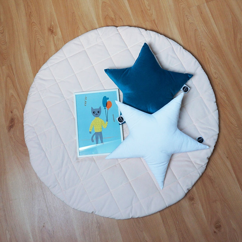 100cm Round Indoor Play Tent Playhouse Floor Cushion Play Mat Rug Toy Blue