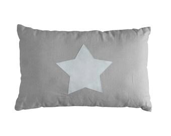 White Linen Cushion / Decorative Pillow / Pillow with Star / Linen Star Pillow / Pure Linen Pillow / Linen Home Decor / White Nursery Decor