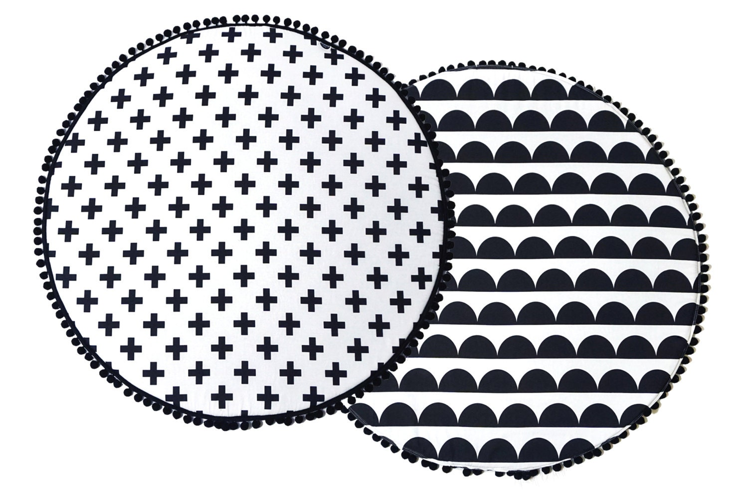 Padded Rug Baby Mat Monochromne Play Mat Black And White