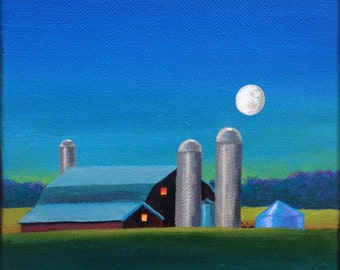 """In the Moonlight - Original 6""""x6"""" Oil Painting on Canvas"""