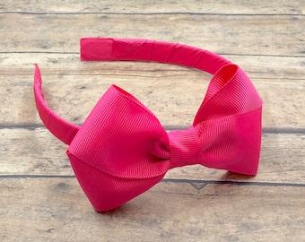 Hot Pink Bow on Hard Headband 071433d4a5f